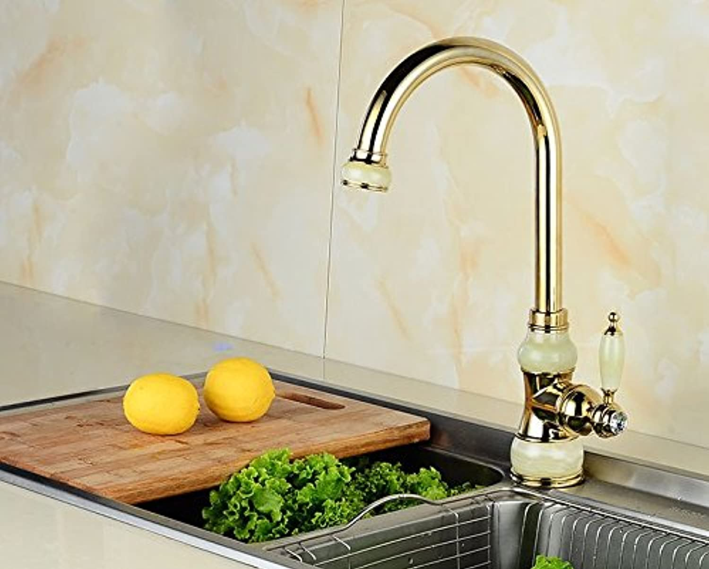 GKCSty Europische natürliche Jade voll Kupfer Tisch Waschbecken kalt Wasserhahn Küche Spüle das Gold antik Beschlge zu drehen.
