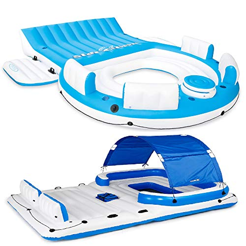 Intex Inflatable Island Lounger w/ Tropical Breeze 6 Person Floating Island