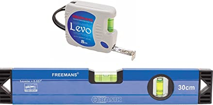 FREEMANS Plastic and Aluminium Levo 5 m:16 mm Measuring Tape + 30 cm Basik Spirit Level, Grey and Blue
