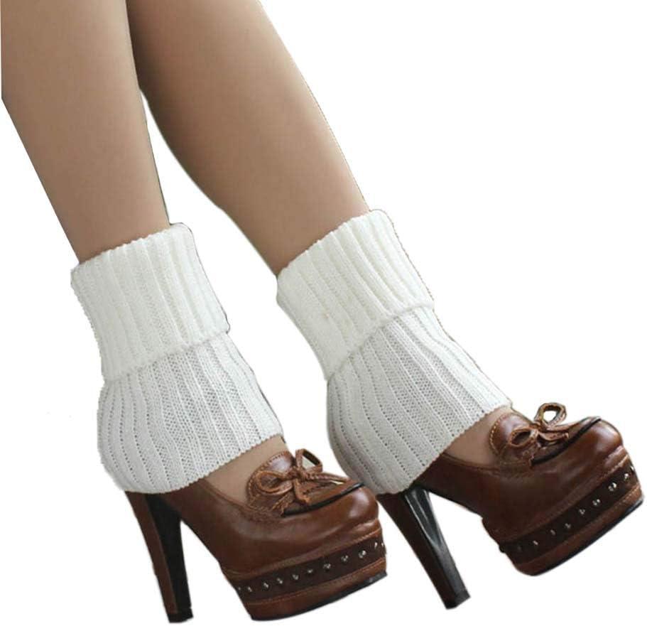 Women's Short Boots Socks Knitted Boot Cuffs Ladies Leg Warmers Socks, White Stripe Pattern