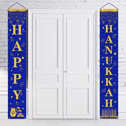 Whaline Happy Hanukkah Porch Sign, Chanukah Banners Decorations Hanukkah Hanging Blue Welcome Sign for Home Holiday Party Outdoor Decor (12 x 72 in)