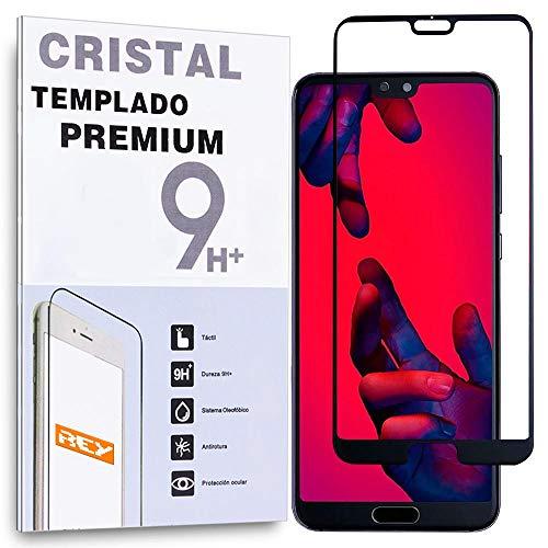 REY Protector de Pantalla Curvo para Huawei P20 Pro, Negro, Cristal Vidrio Templado Premium, 3D / 4D / 5D, Anti Roturas