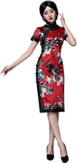 HangErFeng Qipao الحرير طباعة قصيرة الأكمام منحدرة المرأة اللباس سليم الزفاف Cheongsam