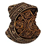 History Close View of The Ancient Aztec Calendar Mayan Civilization Summer Seamless Neck Gaiter Shield Scarf Tube Headwear Bandana Face Mask UV Protection for Men Women Motorcycle Cycling