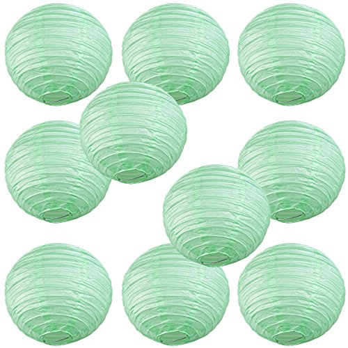 WYZworks Round Paper Lanterns 10 Pack (Seafoam Green, 12') - with 8', 10', 12', 14', 16' Option