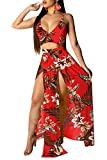 Aro Lora Women's Sexy V Neck Floral Printed Side Slit Chiffon Two-Piece Maxi Dress Large Red