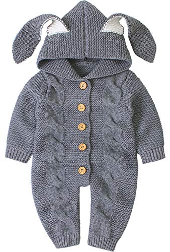 AGQT Newborn Baby Kapuzenstrick Strampler Ostern Niedlich 3D Hasenohr Kapuzenpullover Jumpsuit Outfits Grau 6-12 Monate