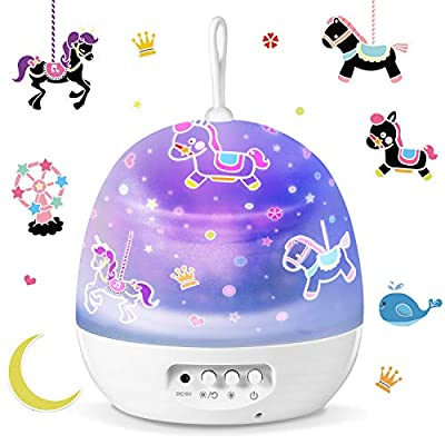 Star Projector, SUNNEST Night Lights for Kids with 360 Degree Rotation, 4 Sets of Film 8 Light Color Changing Night Light Projector for Room Decor, Christmas Gift for Kids Baby, White