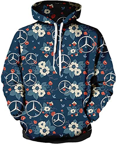 Axjzh Unisex Spring Langarm Hoodie 3D Digital International Mercedes Benz Logo Print Sweatshirt Lässiges Sweatshirt