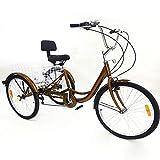 YIYIBY 24 '' Triciclo 6 Velocidad Bicicleta de 3 Ruedas con luz Trike Bicicleta Ciclismo Pedal con Cesta de Compras para Adultos Deportes al Aire Libre Oro