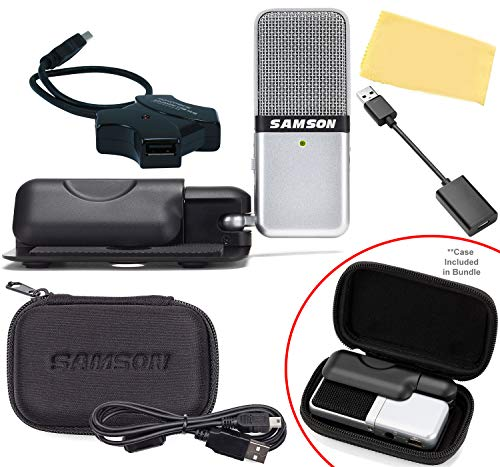 Samson Go Mic Portable USB Condenser Microphone Bundle with Protective Carry Case, USB Cable, Cable Clip, USB Hub, USB-C Adapter, and Austin Bazaar Polishing Cloth