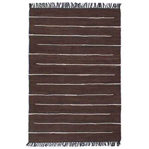 vidaXL Teppich Chindi Handgewebt Wohnzimmerteppich Handwebteppich Fleckerlteppich Fransenteppich Webteppich Läufer Baumwolle 80x160cm Braun