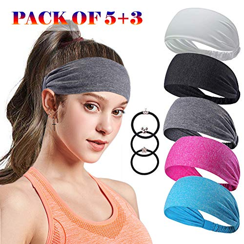 Headbands For Women 5pcs Outdoor Sport Workout Striped Turban Yoga Bands Sweat Wicking Scarf Bandana Wrap Fitness Fashion Non Slip Elastic Knotted Vintage Hippie Soft Athletic Wide Bands Pure Color