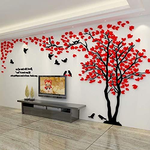Árbol 3D Pegatinas de Pared, DIY Árbol Calcomanías Murales Adhesivo Pegatinas Decoración Hogareña Artes de Salón, Dormitorio, Habitación para Niños, Pared de TV(XL-400*200cm,Rojo Derecha)