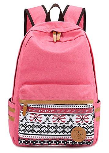 Moollyfox Filles Garçons adolescents Rosé Toile sac de randonnée de sac d'école Sac à dos multi-fonction - Voyages, scolaire, loisirs