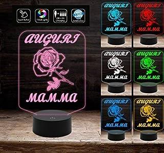 FESTA DELLA MAMMA Idea regalo originale Lampada led 7 colori con rosa da scrivania AUGURI luce notturna da tavolo a led