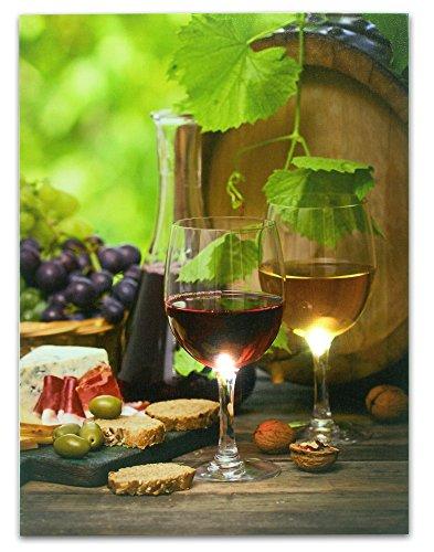 Weinbild – Weindekoration mit LED-Lichtern – Leinwanddruck – Weingläser und Weinflasche mit Weintrauben, Brot, Käse, Nüsse und Oliven – 40,6 x 30,5 cm