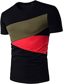 RAINED-Men's Summer New T-Shirt Stitching Short Sleeves Casual Classic Slim Fitted Top Printed Polo Shirt Summer Blouse
