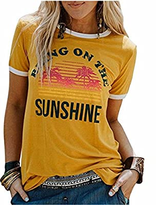 Womens Bring On The Sunshine T-Shirt Funny Letters Print Christian Graphic Tees Tops