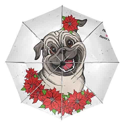 Small Travel Umbrella Windproof Outdoor Rain Sun UV Auto Compact 3 Folds Umbrellas Cover - Cute Pug Head and Christmas Flowers Red Poinsettia