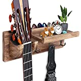 FANFX Guitar Wall Mount Bracket Guitar Wall Hanger Wood Guitar Hanging Rack with Pick Holder Storage Shelf and 3 Metal Hook for Guitar Accessories Electric Acoustic Bass Guitars (brown)