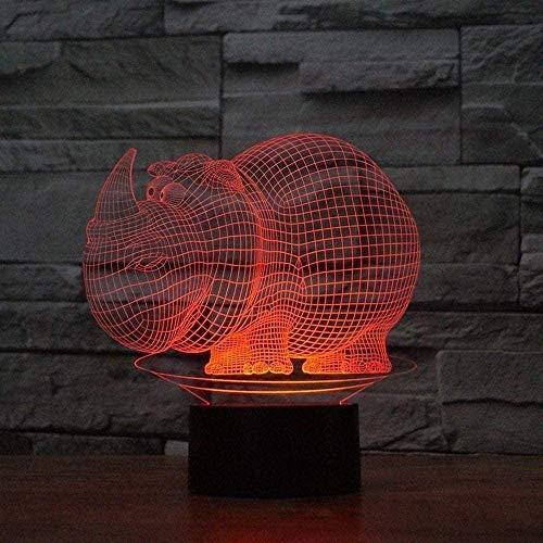 Creative Decorative Ornaments Cartoon Pig-Shaped 3D Night Light 7-Color Light Simple Romantic Home Living Room Bedroom Decoration Gift Light