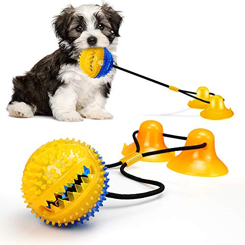Dog Chew Toys for Aggressive Chewers,Rope Toys with 2 Suction Cup for Puppies Teething,Boredom,Tug of War, Slow Feeding, Teeth Cleaning and Training Ball Toy (Yellow)