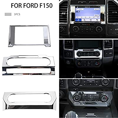 Car Dashboard Navigation GPS Trim Cover & Central Console Air Conditioning Switch Panel & CD Media Audio Volume Adjust Switch Panel Frame Trim Cover for Ford F150 2015-2018 (Chrome)
