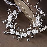 Jhlwls Tocado De Novia Elegante Boda Nupcial Crystal Pearl Flower Girl Tiara Diadema Novia Cinta Tocado Frente Pelo Joyería