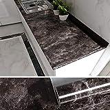 VEELIKE Papel Pintado Autoadhesivo Lavable Adhesivo para Encimera de Cocina Papel Pared Muebles de Mármol Negro y Marrón para Puertas de Armario 40cm x 300cm