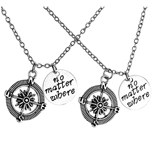 Jovivi 2pc No Matter Where Compass Charm BFF Friendship Pendant Necklace His and her s Couples Jewelry Set,Valentines