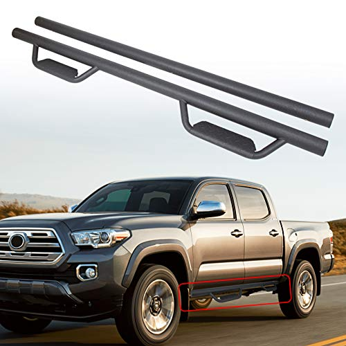 ECOTRIC Running Board Side Steps Hoop Nerf Bars Door Dropped Steps for Toyota Tacoma Double/Crew Cab 2005-2020 (Matte Black)