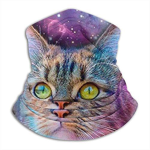 C-WANG Multifunktions-Halstuch, schöne Katze Sternenhimmel Reversible Ear Stirnband Maske Ultimative thermische Retention Vielseitigkeit, für Unisex