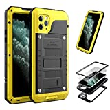 iPhone 11 Pro Max Case,Mangix Built-in Screen Defender Military Grade Drop Protection, Shock Protection Luxury Aluminum Alloy Protective Heavy Duty Shell for Apple iPhone 11 Pro Max 6.5'' (Yellow)