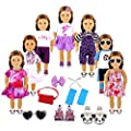 YIQIHAI 18pcs Girl Doll Clothes and Accessories for 18 Inches Doll , Including 7 Set Summer Daily Doll Clothes + 2 Pairs Shoes for Christmas Birthday Gifts