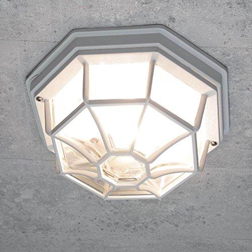 Rustikale Außen Deckenleuchte Außenlampe in weiß E27 bis 100W IP54 für Garten Hof Außenleuchte Deckenlampe Beleuchtung
