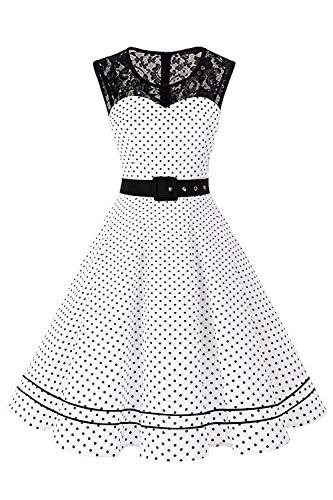 Axoe Damen Abendkleider Elegant für Hochzeit Festlich Kleid Vintage Weiß mit Schwarz Gepunktete Übergröße 48