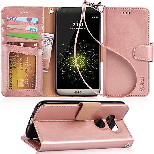 Arae LG G5 Case, [Wrist Strap] Flip Folio [Kickstand Feature] PU Leather Wallet case with ID&Credit Card Pockets for LG G5 (Rosegold)