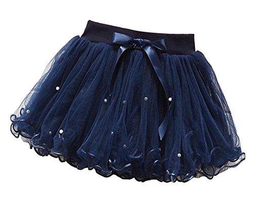 [Donkerblauw] Meisjes Tutu Rok Tule Prinses Rok Kinderen Dress-up Pluizige Rok: