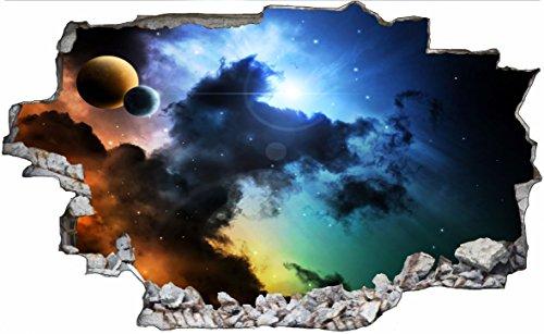 DesFoli Weltraum Erde Space Weltall Galaxy Planeten 3D Look Wandtattoo 70 x 115 cm Wand Durchbruch Wandbild Sticker Aufkleber C224