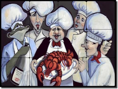The Lobster half by SEAL limited product Jann Harrision - Tile Mural Tumbled Marble Chefs