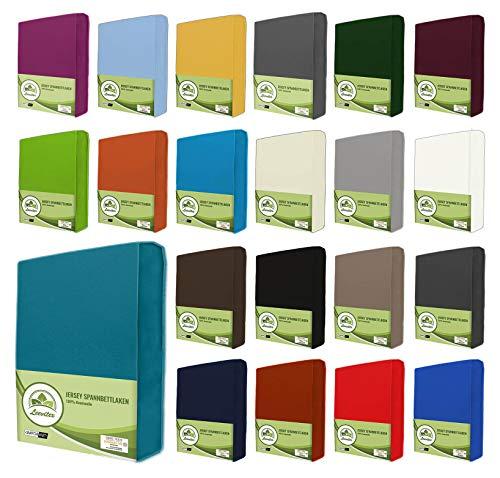 leevitex® Jersey Spannbettlaken, Spannbetttuch 100% Baumwolle in vielen Größen und Farben MARKENQUALITÄT ÖKOTEX Standard 100 | Petrol/Smaragd Blau, 180 x 200-200 x 200 cm