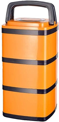RenShiMin Shop Boîte à Lunch d'isolation, Acier Inoxydable Multi-Couche de Grande capacité de qualité AliHommestaire 304 en Acier Inoxydable isolé portable Baril (Couleur   jaune, Taille   Three Floors)