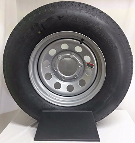 """15"""" 6X5.5 Silver Modular Trailer Wheel with Radial ST225/75R15 10 PLY Tire Mounted"""