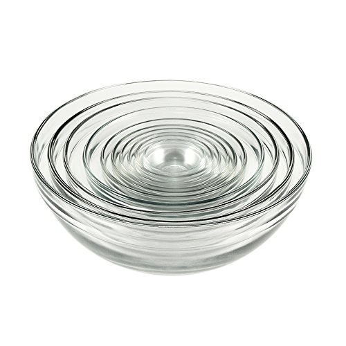 Glass Mixing Bowls, Mixed, Set of 10