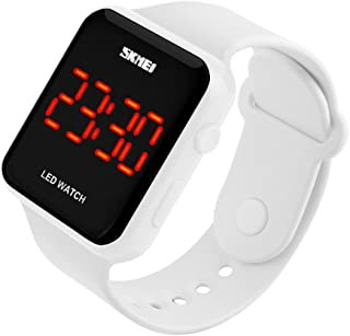 Kids or Adults Fruit Powder led Electronic Sports Watches, Large Screen pu Strap Waterproof Men and Women Students Couple Wristwatch-C