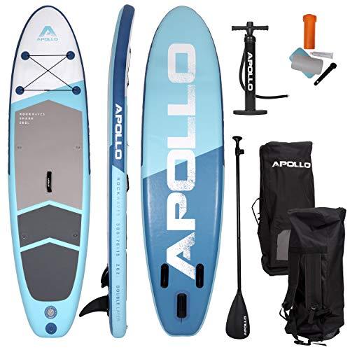Apollo SUP Board Shark - Allround - 300 x 76 x 15 cm, iSUP Komplettset, Stand-up-Paddling Set, aufblasbares Double Layer Board, inkl. Paddel, Pumpe und Reparaturset, für Anfänger und Profis