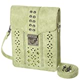 MINICAT Women RFID Blocking Small Crossbody Bags Cell Phone Purse Wallet With Credit Card Slots(Light Green-Thicker)
