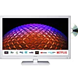 Image of Sharp 1T C24BE0KR1FW 24 Inch Smart TV, HD Ready LED Display with DTS Studio Sound, Dolby Digital Audio, 2x HDMI 2x USB, Built-in DVD Player, Freeview Play and Wireless Streaming -White, Energy Class F
