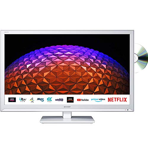 Sharp 1T-C24BE0KR1FW (24BE0KW) 24 Inch HD Ready LED Smart TV with Freeview Play, Built-in DVD player, 2 x HDMI, SCART, USB Media Player - White